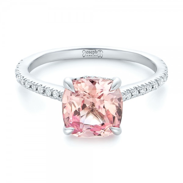 Custom Peach Sapphire and Diamond Engagement Ring - Laying View