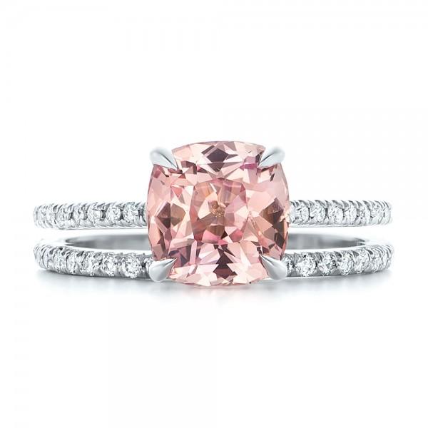 Custom Peach Sapphire and Diamond Engagement Ring - Top View