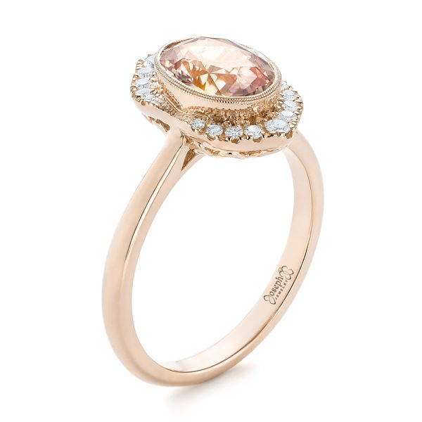 18k Rose Gold 18k Rose Gold Custom Peach Sapphire And Diamond Halo Engagement Ring - Three-Quarter View -