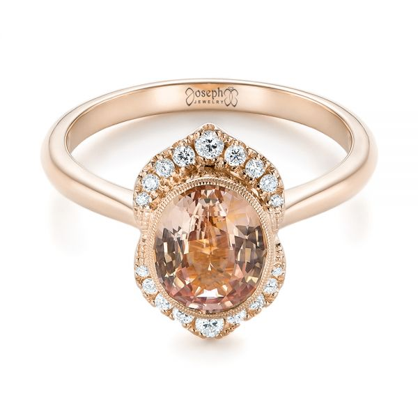 18k Rose Gold 18k Rose Gold Custom Peach Sapphire And Diamond Halo Engagement Ring - Flat View -