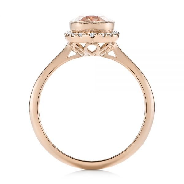 18k Rose Gold 18k Rose Gold Custom Peach Sapphire And Diamond Halo Engagement Ring - Front View -