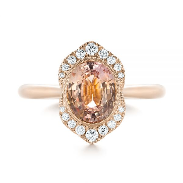 18k Rose Gold 18k Rose Gold Custom Peach Sapphire And Diamond Halo Engagement Ring - Top View -