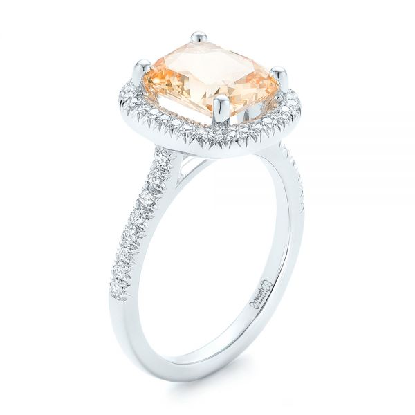 14k White Gold Custom Peach Sapphire And Diamond Halo Engagement Ring - Three-Quarter View -