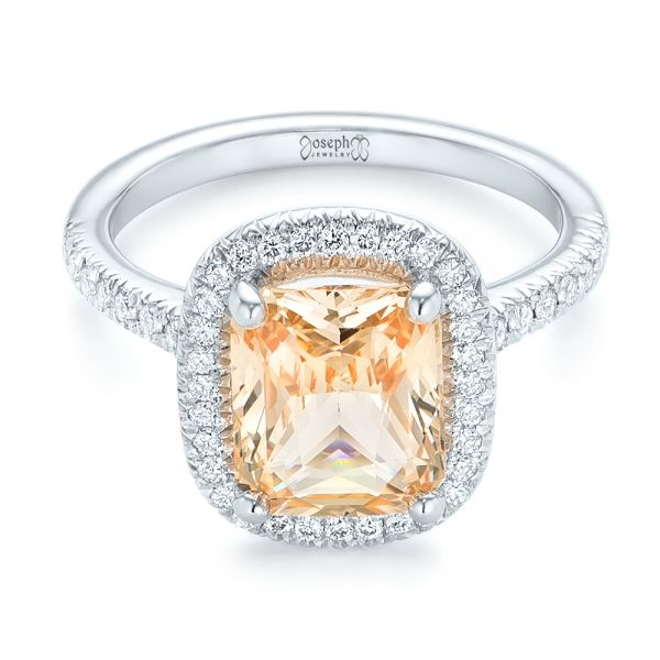 14k White Gold Custom Peach Sapphire And Diamond Halo Engagement Ring - Flat View -