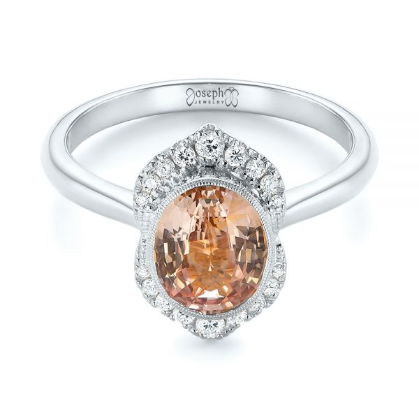 18k White Gold 18k White Gold Custom Peach Sapphire And Diamond Halo Engagement Ring - Flat View -