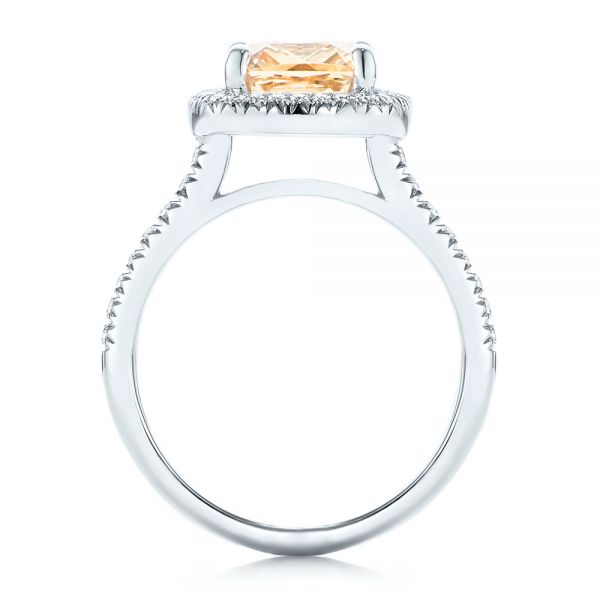 14k White Gold Custom Peach Sapphire And Diamond Halo Engagement Ring - Front View -