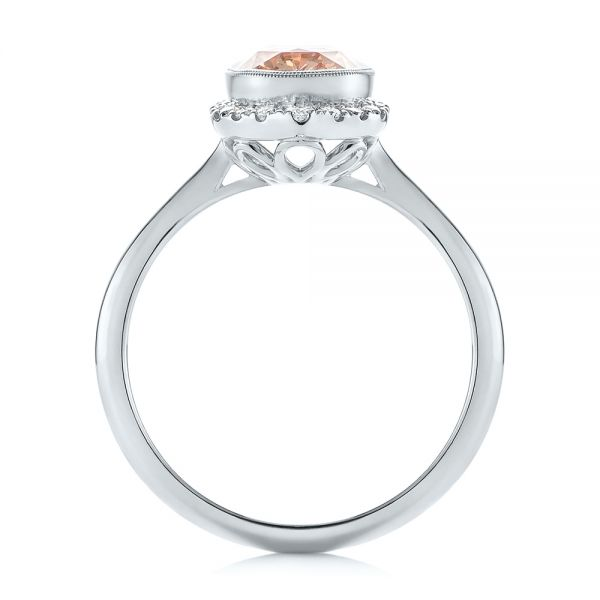 18k White Gold 18k White Gold Custom Peach Sapphire And Diamond Halo Engagement Ring - Front View -