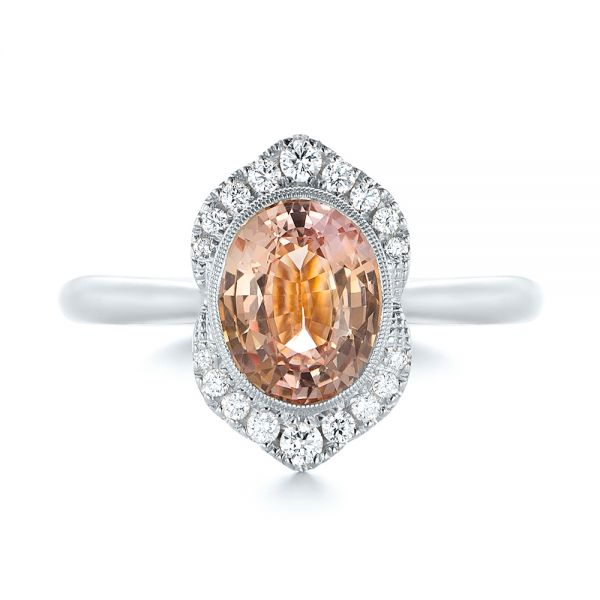 18k White Gold 18k White Gold Custom Peach Sapphire And Diamond Halo Engagement Ring - Top View -
