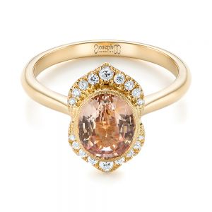Custom Peach Sapphire and Diamond Halo Engagement Ring