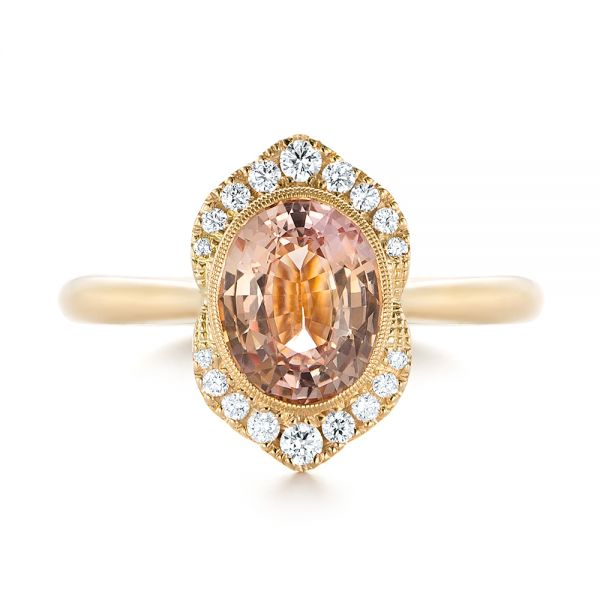 Custom Peach Sapphire and Diamond Halo Engagement Ring - Top View -  104261 - Thumbnail