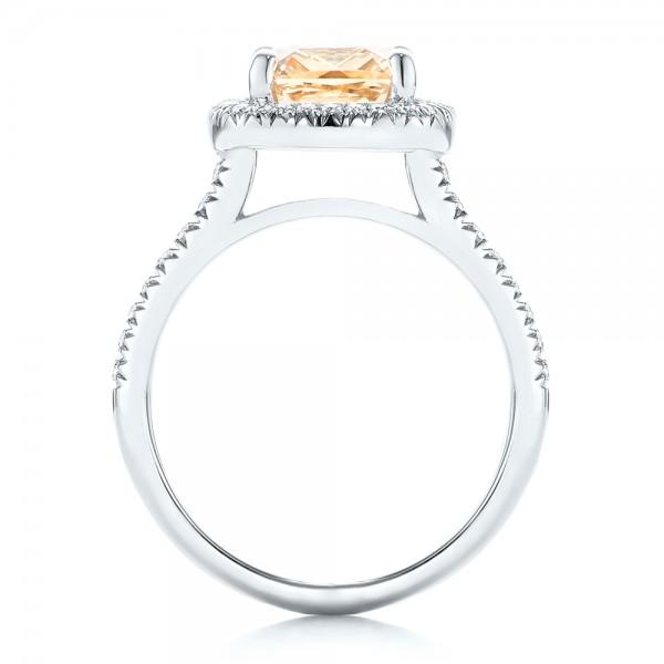 Custom Peach Sapphire and Diamond Halo Engagement Ring - Finger Through View
