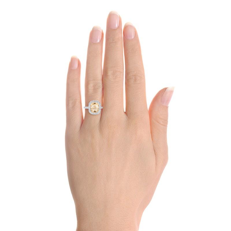 Custom Peach Sapphire and Diamond Halo Engagement Ring - Model View
