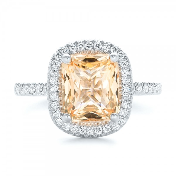 Custom Peach Sapphire and Diamond Halo Engagement Ring - Top View