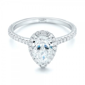 Custom Pear Shaped Diamond and Halo Engagement Ring