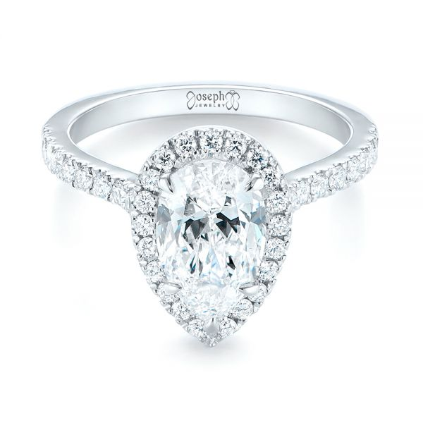 18k White Gold Custom Pear Shaped Diamond Halo Engagement Ring - Flat View -