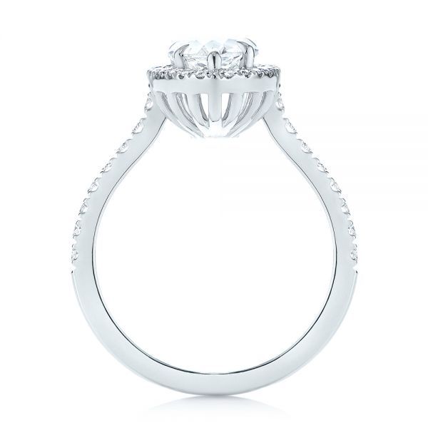 18k White Gold Custom Pear Shaped Diamond Halo Engagement Ring - Front View -