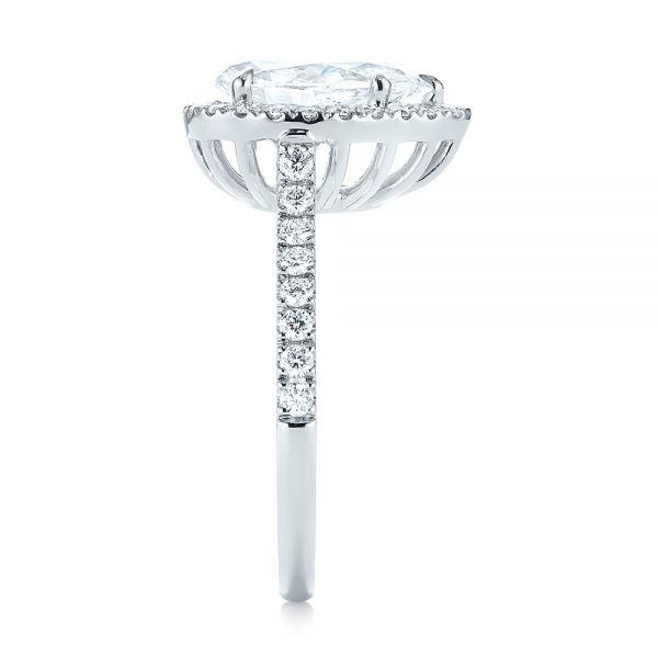18k White Gold Custom Pear Shaped Diamond Halo Engagement Ring - Side View -
