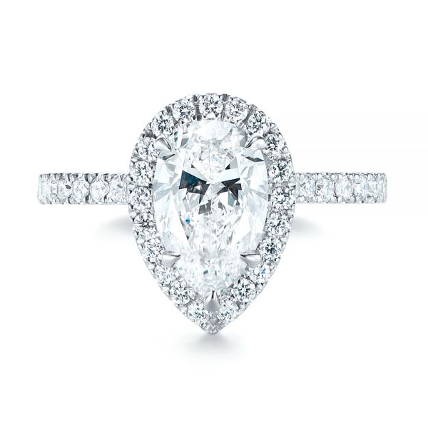 18k White Gold Custom Pear Shaped Diamond Halo Engagement Ring - Top View -