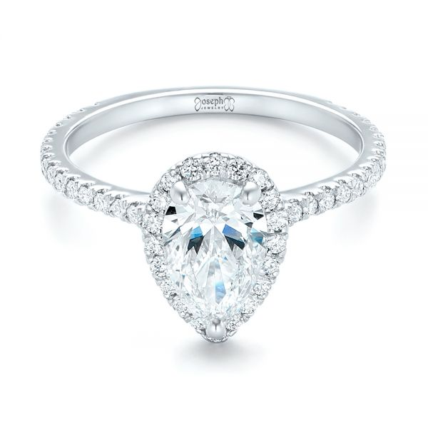 Custom Pear Shaped Diamond and Halo Engagement Ring - Flat View -  102743 - Thumbnail
