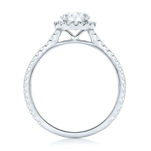 Custom Pear Shaped Diamond and Halo Engagement Ring - Front View -  102743 - Thumbnail