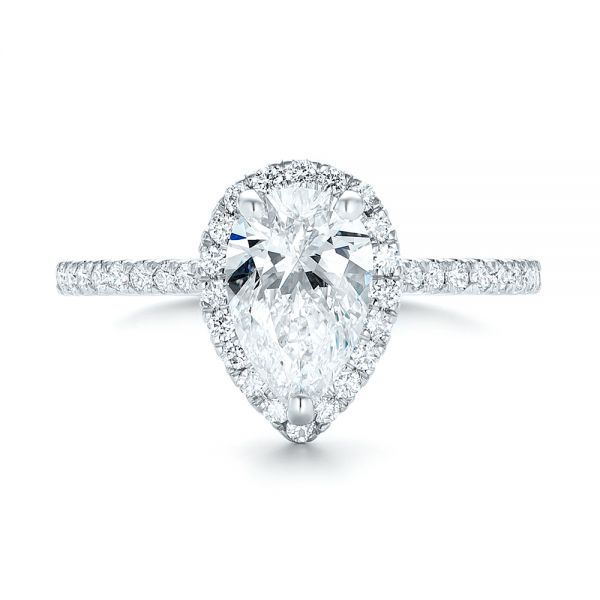 Custom Pear Shaped Diamond and Halo Engagement Ring - Top View -  102743 - Thumbnail