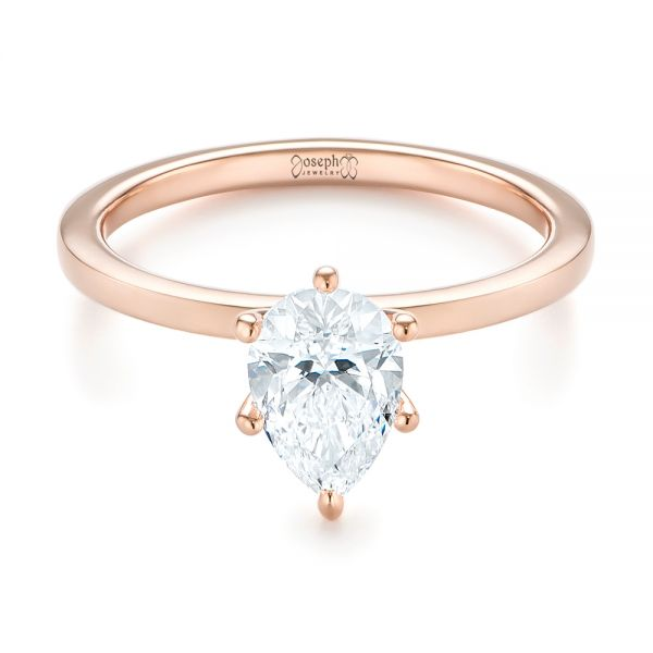14k Rose Gold Custom Pear Shaped Solitaire Diamond Engagement Ring - Flat View -  104399 - Thumbnail