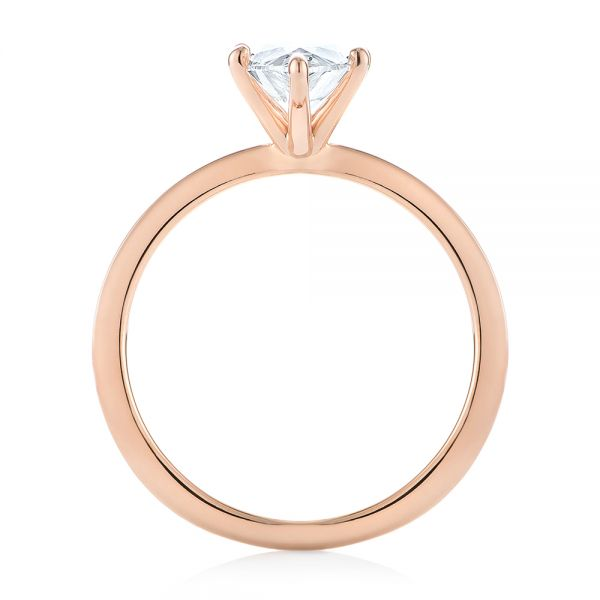14k Rose Gold Custom Pear Shaped Solitaire Diamond Engagement Ring - Front View -  104399 - Thumbnail