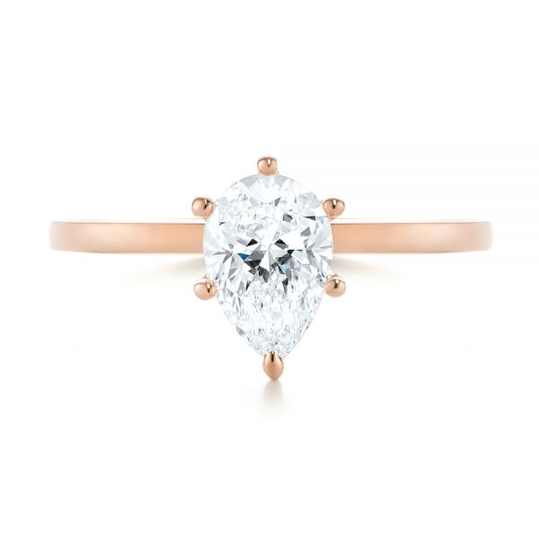 14k Rose Gold Custom Pear Shaped Solitaire Diamond Engagement Ring - Top View -  104399 - Thumbnail