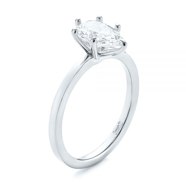 Platinum Platinum Custom Pear Shaped Solitaire Diamond Engagement Ring - Three-Quarter View -  104399
