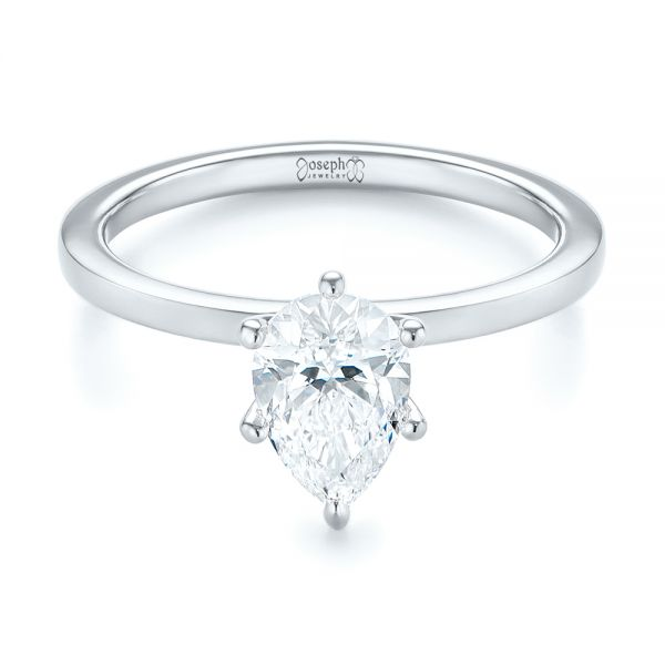 Custom Pear Shaped Solitaire Diamond Engagement Ring