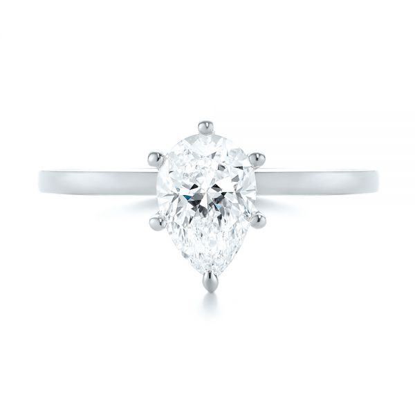 Platinum Platinum Custom Pear Shaped Solitaire Diamond Engagement Ring - Top View -  104399