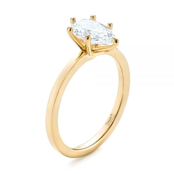 18k Yellow Gold 18k Yellow Gold Custom Pear Shaped Solitaire Diamond Engagement Ring - Three-Quarter View -  104399