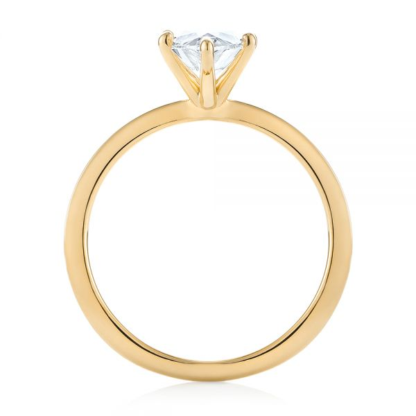 18k Yellow Gold 18k Yellow Gold Custom Pear Shaped Solitaire Diamond Engagement Ring - Front View -  104399