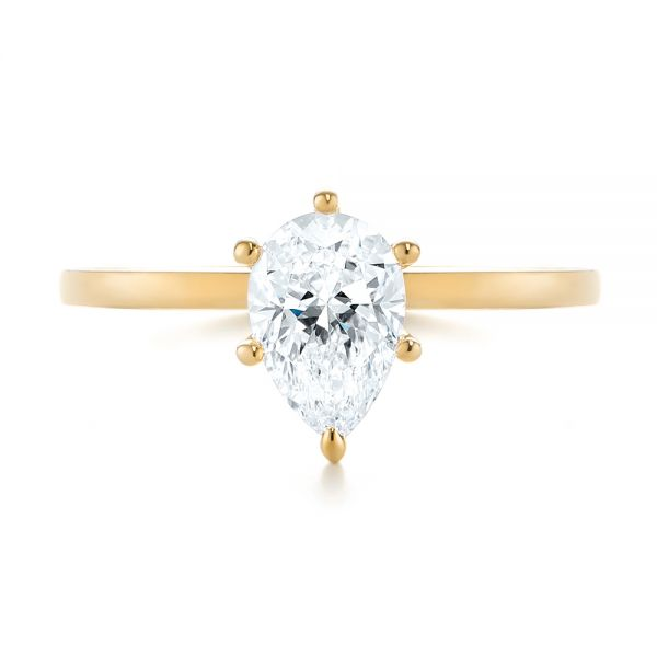 18k Yellow Gold 18k Yellow Gold Custom Pear Shaped Solitaire Diamond Engagement Ring - Top View -  104399