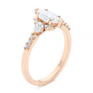 Custom Pear and Marquise Diamond Engagement Ring - Image