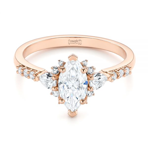14k Rose Gold Custom Pear And Marquise Diamond Engagement Ring - Flat View -  104172 - Thumbnail