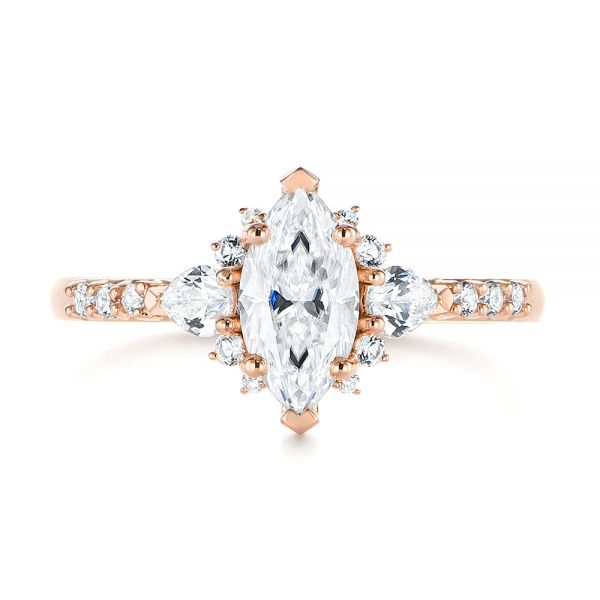 14k Rose Gold Custom Pear And Marquise Diamond Engagement Ring - Top View -  104172 - Thumbnail