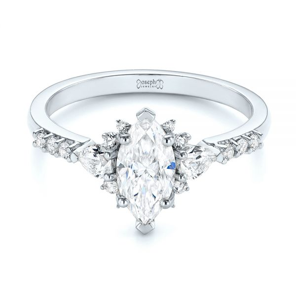 14k White Gold 14k White Gold Custom Pear And Marquise Diamond Engagement Ring - Flat View -  104172 - Thumbnail