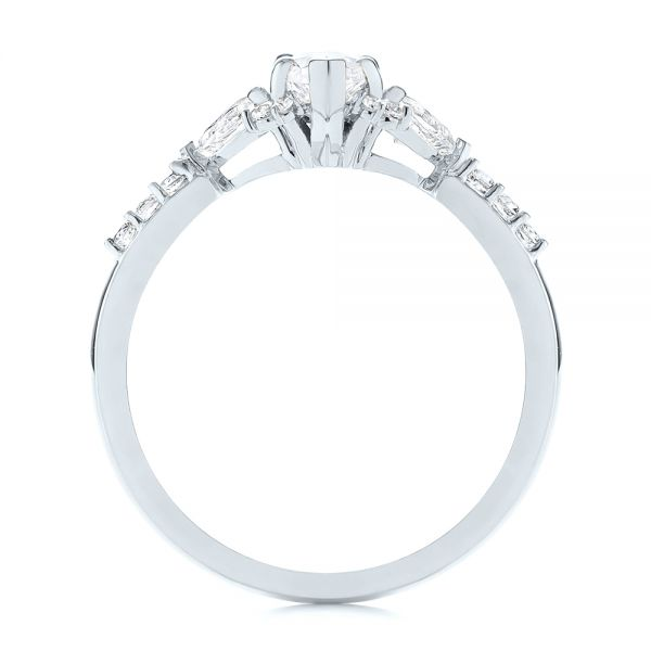 14k White Gold 14k White Gold Custom Pear And Marquise Diamond Engagement Ring - Front View -  104172 - Thumbnail