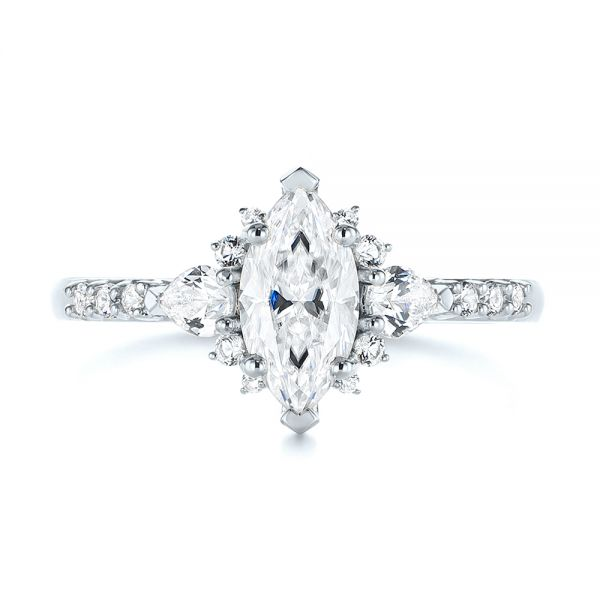 14k White Gold 14k White Gold Custom Pear And Marquise Diamond Engagement Ring - Top View -  104172 - Thumbnail