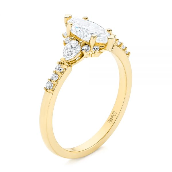 14k Yellow Gold 14k Yellow Gold Custom Pear And Marquise Diamond Engagement Ring - Three-Quarter View -  104172 - Thumbnail