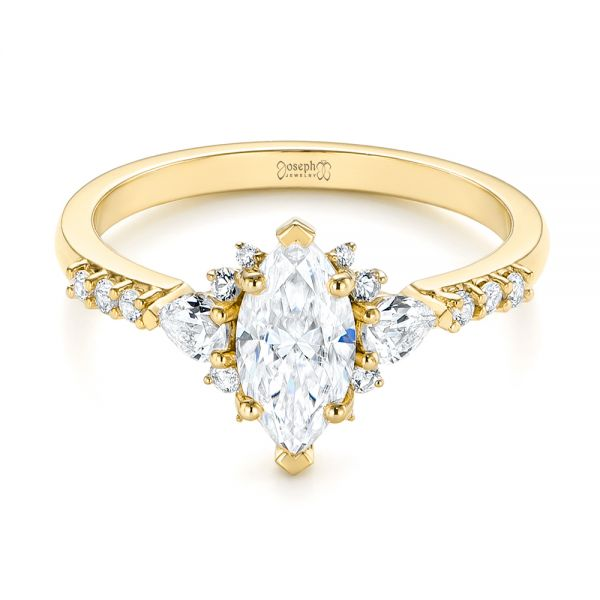 14k Yellow Gold 14k Yellow Gold Custom Pear And Marquise Diamond Engagement Ring - Flat View -  104172 - Thumbnail
