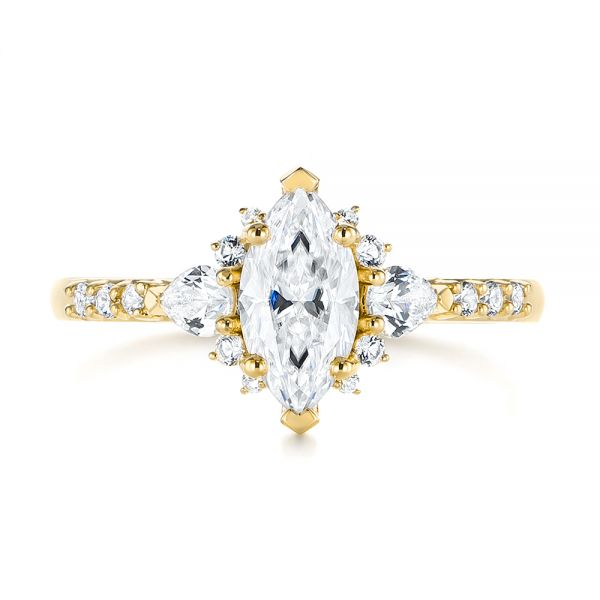 14k Yellow Gold 14k Yellow Gold Custom Pear And Marquise Diamond Engagement Ring - Top View -  104172 - Thumbnail