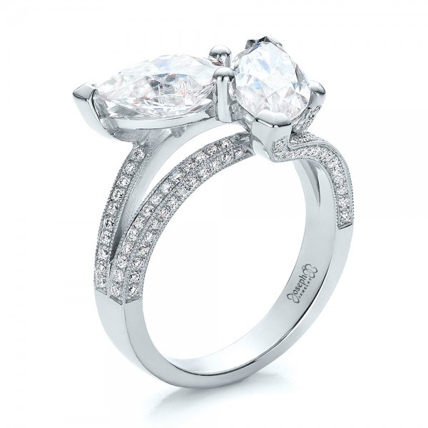 Custom Pear and Marquise Shaped Diamond Engagement Ring 100392