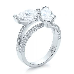 Custom Pear and Marquise Shaped Diamond Engagement Ring - Image