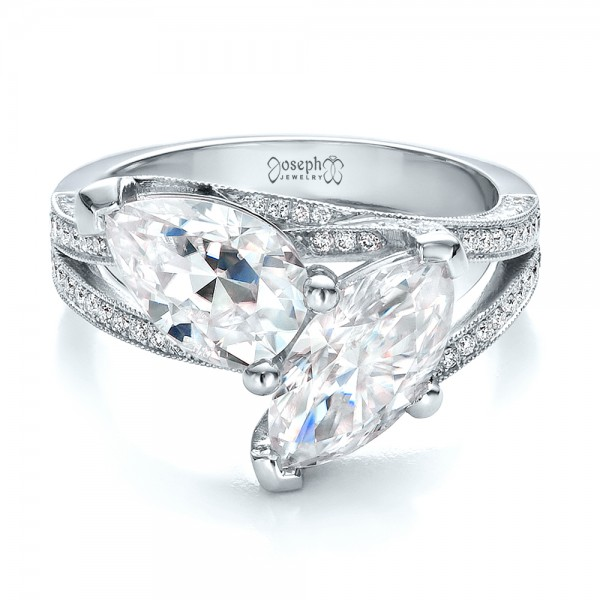 Custom Pear and Marquise Shaped Diamond Engagement Ring