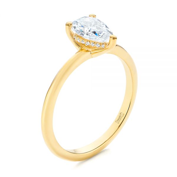 Custom Pear-shaped Hidden Halo Diamond Engagement Ring - Image