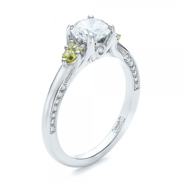 Custom Peridot and Diamond Engagement Ring