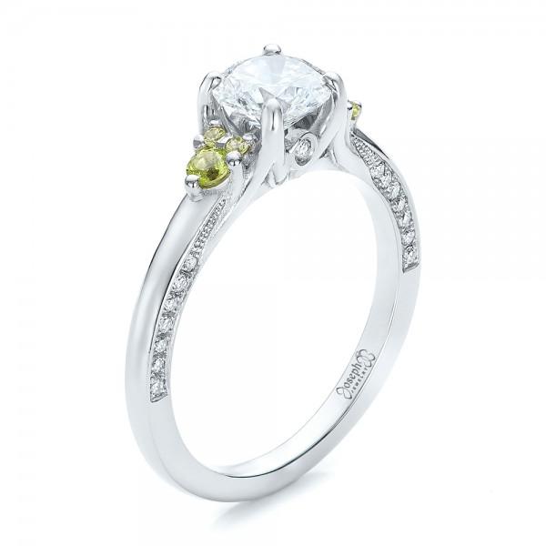 Custom Peridot and Diamond Engagement Ring 100887