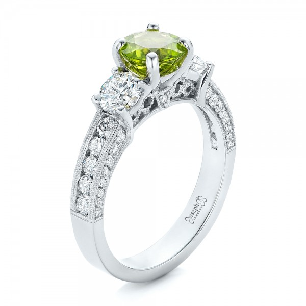 custom peridot and diamond engagement ring 102118 - Peridot Wedding Rings